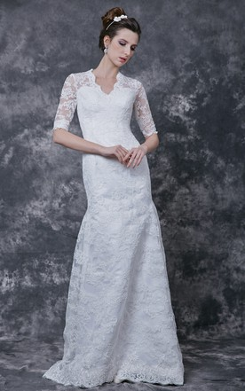 1920u0027s Vintage Inspired Half Sleeves Back Keyhole Lace Gown Court Train ...