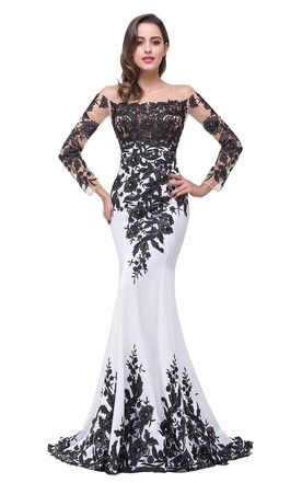 Glamorous Long Sleeve Mermaid 2018 Evening Dress Black Liques Mother