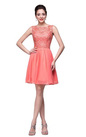 d59d3cb6dde ... Lovely Lace Sleeveless Hoemcoming Dress 2018 Short Chiffon