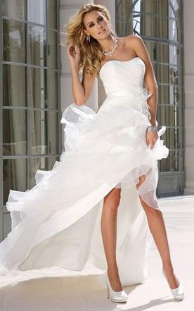 14c33a25e11 Strapless Asymmetrical Ruffled Satin Wedding Dress With Ruching