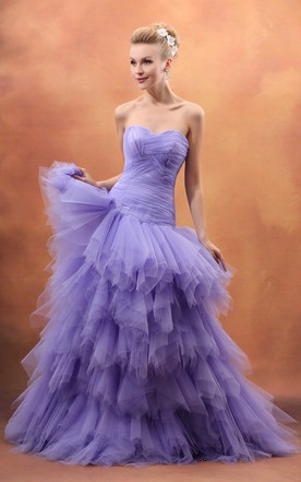 Purple lavender wedding dress june bridals captivating ruffled sweetheart sleeveless gown with layered ruffles junglespirit Image collections