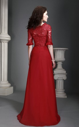 Bateau-Neck Half-Sleeve Long Dress With Lace Top