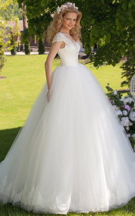 Cute style wedding gowns bridal dresses cute june bridals ball gown v neck ruched cap sleeve tulle wedding dress junglespirit Gallery