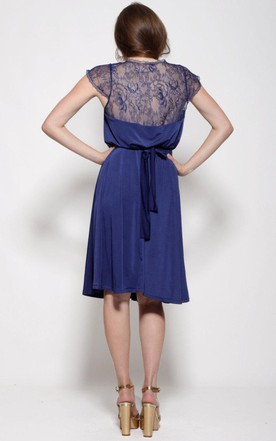 Knee-length Bell Sleeve Chiffon&Lace Dress