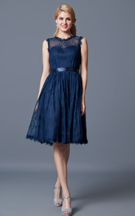 A Line High Neck Lace Bridesmaid Dress With Keyhole Back
