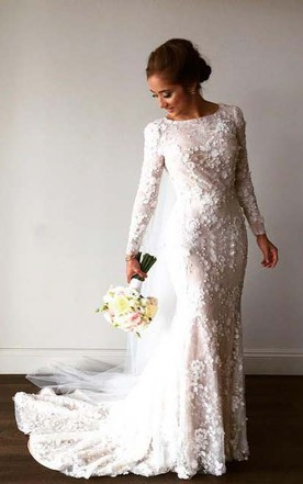 Vintage Long Sleeve 3D Floral Appliques Crystal Mermaid Wedding Dress