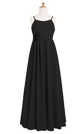 Pleated Long Chiffon Dress With Spaghetti Straps and Flower