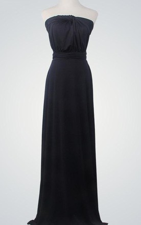 Strapless Floor-Length Chiffon Dress With Bow
