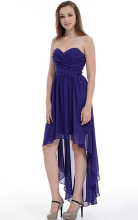 A-line Asymmetrical Sweetheart Chiffon Dress