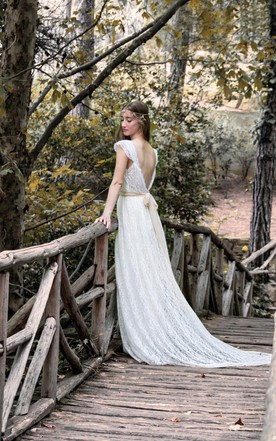 Bohemian Romantic Long Lace Wedding Dress With Cap Sleeves and Beading