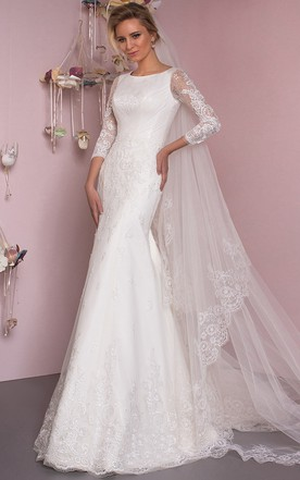 f653c08a6402 Mermaid Floor-Length Appliqued Scoop Neck 3-4 Sleeve Lace Wedding Dress ...