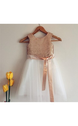 Pretty flower girl dresses 2017 for sale june bridals gold sequin sleeveless ivory tulle flower girl dress with sash bow mightylinksfo
