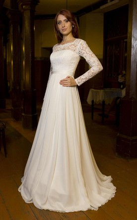 Bateau Neck Long Sleeve Chiffon Wedding Dress With V Back Cutout ...