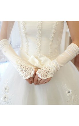 Fold Hook Beaded Sequined Long Gloves