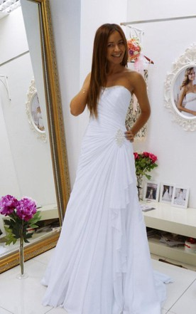 Sheath Chiffon Floor-Length Dress With Beading And Side Draping