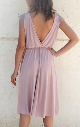 Knee Length Chiffon Lace Dress