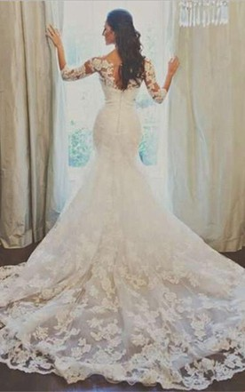 Elegant 3 4 Long Sleeve Illusion Tulle Wedding Dress Lace Liques