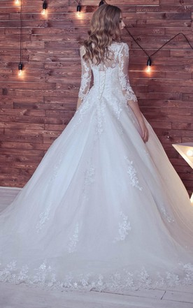 Ball Gown Long Sleeve Tulle Lace Wedding Dress