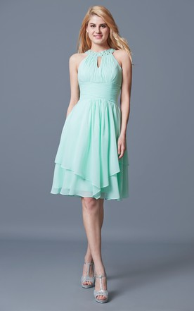da5b0b759bde Mint Chiffon Bridesmaid Dress | Chiffon Mint Prom Dress - June Bridals
