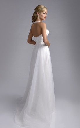 ... Halter Tulle A Line Bridal Wedding Dress With Lace Appliques