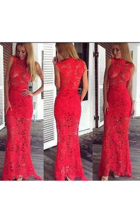 Modern Lace Red Mermaid Prom Dress 2016 Zipper Floor-length