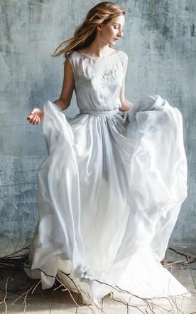 Chiffonu0026Lace Dress With Flower Chiffonu0026Lace Dress With Flower