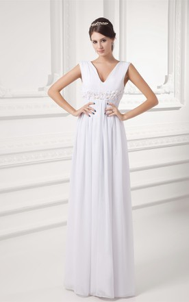 V Neck Sleeveless Chiffon Long Dress With Floral Waist