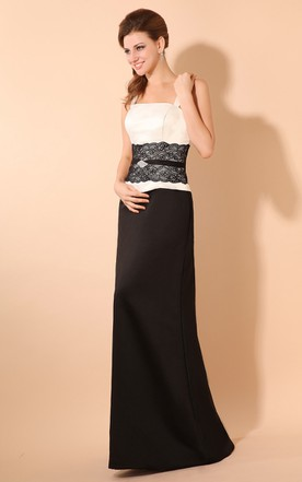 Simple Column Dress With Laced Waistband And Spaghetti Straps
