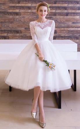 102a215c7f7b Long Sleeve Jewel Neck Pleated Tea Length Lace Dress ...