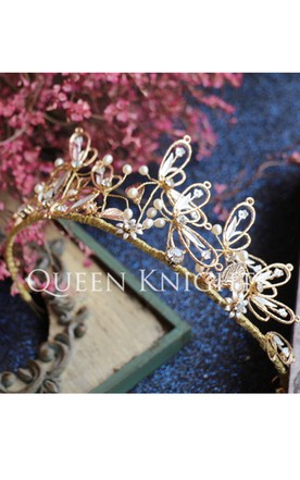 European-style Retro Hand-stage Gold Diamond Dragonfly Soft Pearl Hoop Crown