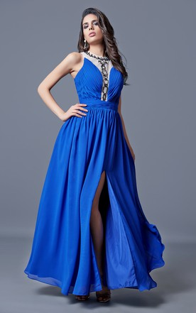 Jewel Neckline Ruched A-line Long Chiffon Dress With Pleats