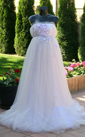 Sleeveless Beaded Floral Tulle Maternity Wedding Dress ...
