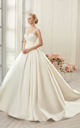 902f6817d61 Ball Gown Long Scoop Sleeveless Deep-V-Back Satin Dress With Appliques ...