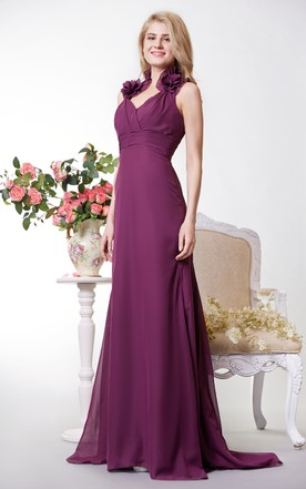 Vibrant Halter Neck Chiffon Gown With Empire Waist