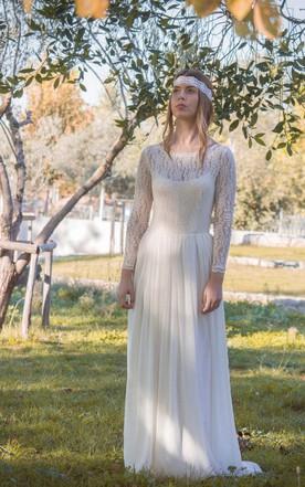 Jewel Illusion Sleeve Long Lace Wedding Dress With Keyhole Back And Pleats