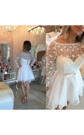 a761d5fbd Beautiful White Lace Homecoming Dress 2018 Short Long Sleeve Cocktail Dress  ...