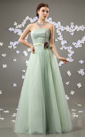 Sage green aqua turquoise bridesmaid dress all color flattering strapless a line dress with satin sash and flower junglespirit Image collections