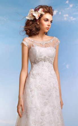 84aea9c2b08 ... A-Line Floor-Length Scoop Cap-Sleeve Empire Illusion Lace Dress With  Beading