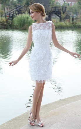 Stylish Bateau-Neck Organza Bodycon Gown With Flowers