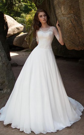 Ball Gown Long Bateau Short Sleeve Illusion Chiffon Dress With Lace