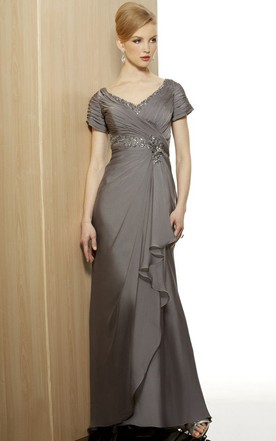 fc41770d11 Cap Sleeve V-Neck Beaded Jersey Formal Dress With Draping And Criss Cross  ...