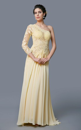 Magnificent One Shoulder Illusion Lace on Tulle Gown With Backless Style