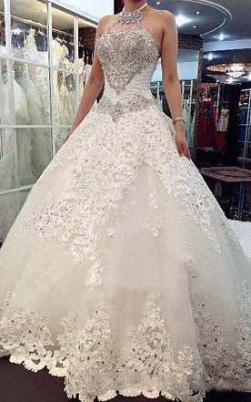 Sleeveless High Neck Beaded Bodice Lace Ball Gown