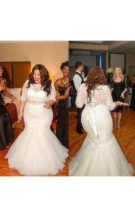 Wedding dresses plus size lace dress