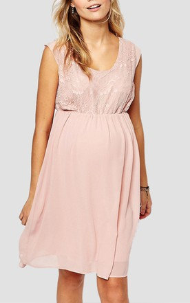 Casual Cap-sleeved Scoop Neck Pleated Short Chiffon Maternity Dress With Lace Bodice