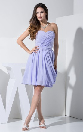 Sweetheart Chiffon Short Dress With Ruching