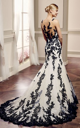 White And Black Wedding Dress Gowns | Two-Tone Bridal Dresses - June ...