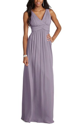 b2829ba824f V-neck Empire Chiffon Long Dress