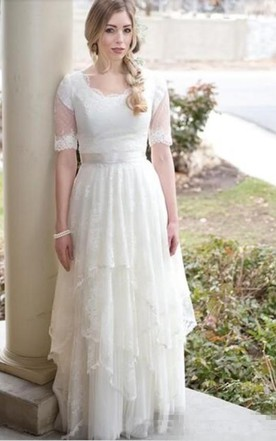 098adcdf71fe6 Modest Country Style Bohemian Garden Lace Tulle Scoop Neck Illusion Short  Sleeves Wedding Dress ...