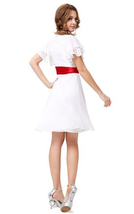 Short-sleeved A-line Chiffon Dress With Bow